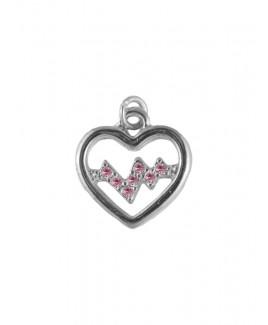 Colgante Latido de Corazón Plateado-Rosado (pequeño)