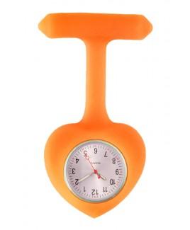 Reloj para Enfermera silicona Corazón Naranja