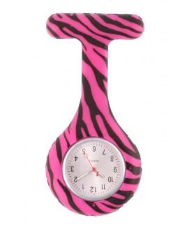 Reloj enfermera Silicona Cebra Rosa