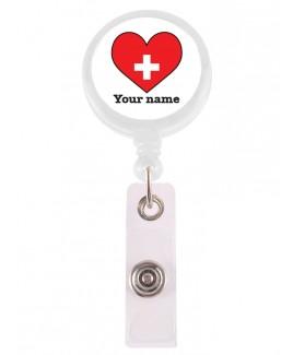 Porta Credenciales Retráctil Corazón Rojo con su Nombre