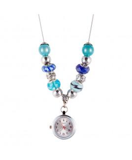 Reloj Collar con Perlas Turquesas